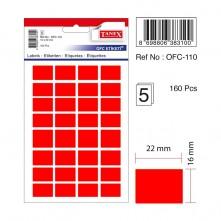 Tanex Etiket Ofc-110 16X22Mm Kırmızı 5 li